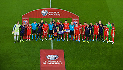 CARDIFF, WALES - Sunday, October 13, 2019: Wales and Croatia players come together for a UEFA Equal Game group photograph before the UEFA Euro 2020 Qualifying Group E match between Wales and Croatia at the Cardiff City Stadium. (Pic by Paul Greenwood/Propaganda)