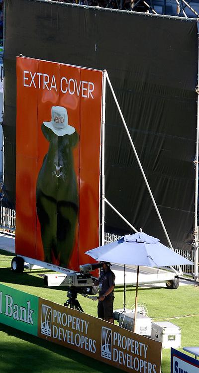 New sight screens at McLean Park. New Zealand Black Caps v Australia. 1st ODI, Chappell-Hadlee Trophy Series. McLean Park, Napier. Wednesday 03 March 2010  Photo: John Cowpland/PHOTOSPORT