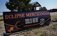 A sign advertising eclipse merchandise for sale in Guernsey, Wyoming U.S. August 20, 2017.  REUTERS/Rick Wilking