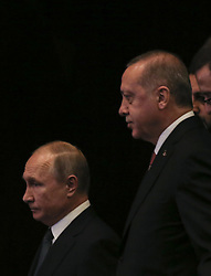 November 19, 2018 - °Stanbul, Türkiye - Turkish President Recep Tayyip Erdogan and Russian President Vladimir Putin inaugurate TurkStream offshore gas pipeline in Istanbul Congress Center on Nov. 19 2018. The construction of the TurkStream, a natural gas pipeline from Russia to Turkey across the Black Sea, started in May 2017. The first string of the pipeline is intended for Turkish consumers, while the second string will deliver gas to southern and southeastern Europe. The first and second strings of TurkStream will have a throughput capacity of 15.75 billion cubic meters each. (Credit Image: © Depo Photos via ZUMA Wire)