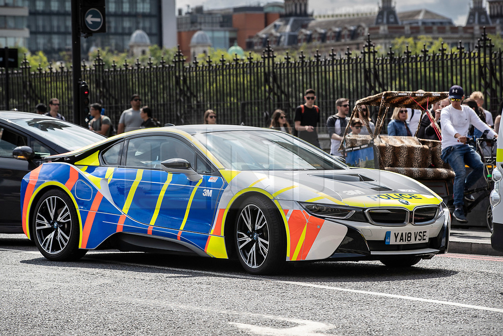 VIDEO AVAILABLE https://we.tl/t-AQ3gDCpiD6 £100 per use © Licensed to London News Pictures. 08/07/2019. London, UK. A police BMW i8 sports car drives near Parliament.  Photo credit: Peter Macdiarmid/LNP