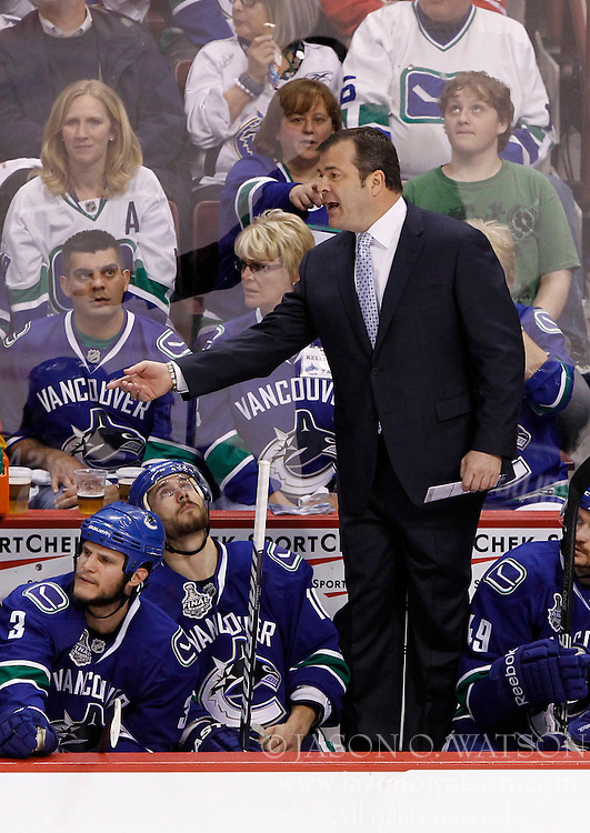 June 1, 2011; Vancouver, BC, CANADA; Vancouver Canucks head coach Alain Vigneault during the second period in game one of the 2011 Stanley Cup Finals against the Boston Bruins at Rogers Arena. Mandatory Credit: Jason O. Watson / US PRESSWIRE