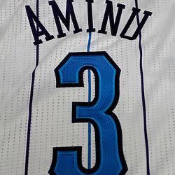 December 17, 2011; New Orleans, LA, USA; A detailed view of the jersey of New Orleans Hornets small forward Al-Farouq Aminu (3) at a press conference to introduce players acquired from the Los Angeles Clippers in the Chris Paul trade prior to team scrimmage at the New Orleans Arena.   Mandatory Credit: Derick E. Hingle-US PRESSWIRE