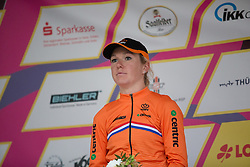 Amy Pieters (NED) celebrates finishing in second place in the prologue of the Lotto Thuringen Ladies Tour - a 6.1 km individual time trial, starting and finishing in Gera on July 12, 2017, in Thuringen, Germany. (Photo by Balint Hamvas/Velofocus.com)