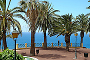 Spanien, Kanarische Inseln, Teneriffa..Puerto de la Cruz, Taoro Parque, Terrasse mit Palmen und Blick auf das blauen Meer..|..Spain, Canary Islands, Tenerife..Puerto de la Cruz, Taoro Parque, terrace with palm trees and view on the blue sea