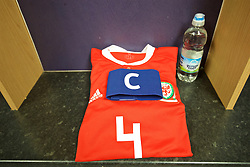 RHYL, WALES - Wednesday, November 14, 2018: The shirt and captain's armband of Wales Ryan Reynolds laid out in the changing room before the UEFA Under-19 Championship 2019 Qualifying Group 4 match between Wales and Scotland at Belle Vue. (Pic by Paul Greenwood/Propaganda)