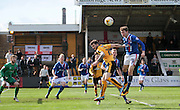Carlisle no 16 Jack Stacey clears during the Sky Bet League 2 match between Cambridge United and Carlisle United at the R Costings Abbey Stadium, Cambridge, England on 16 April 2016. Photo by Nigel Cole.