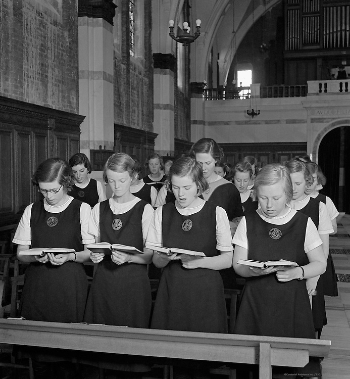 Singing in Chapel, Roedean School, Brighton, 1935