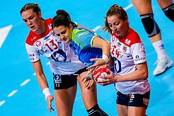 02-12-2019 JAP: Slovenia - Norway, Kumamoto<br /> Second day 24th IHF Womenís Handball World Championship, Slovenia lost the second match against Norway with 20 - 36. / Natasa Ljepoja #17 of Slovenia, Sanna Charlotte Solberg #24 of Norway