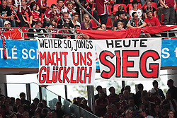 """13.08.2011, easy Credit Stadion, Nuernberg, GER, 1.FBL, 1. FC Nürnberg / Nuernberg vs , im Bild:.Fans 1. FC Nürnberg / Nuernberg mit Spruchband """"Weiter so, Jungs. Macht uns glücklich. Heute Sieg"""".// during the Match GER, 1.FBL, 1. FC Nürnberg / Nuernberg vs  on 2011/08/13, easy Credit Stadion, Nuernberg, Germany..EXPA Pictures © 2011, PhotoCredit: EXPA/ nph/  Will       ****** out of GER / CRO  / BEL ******"""