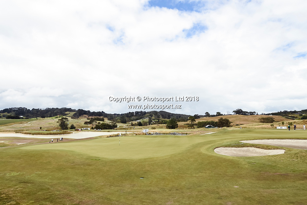 Wainui Golf Course general view, 9th hole green.<br /> NZ Rebel Sports Masters, Wainui Golf Club, Wainui, Auckland, New Zealand. 14 January 2018. &copy; Copyright Image: Marc Shannon / www.photosport.nz.