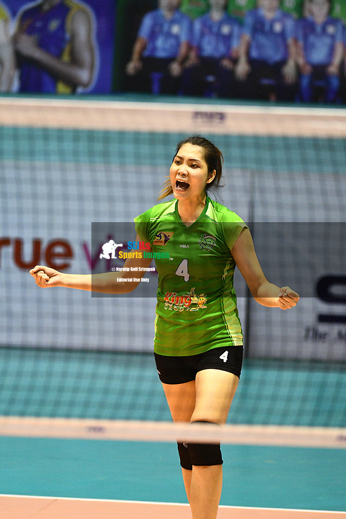 BANGKOK, THAILAND - MARCH 19: Siriporn Sooksen of King-Bangkok #4 reaction during the 2016–17 Women's Volleyball Thailand League, Chantarubeksa Air Force Stadium, Bangkok, Thailand on March 19, 2017.<br /> .<br /> .<br /> .<br /> (Photo by: Naratip Golf Srisupab/SEALs Sports Images)<br /> .<br /> Any image use must include a mandatory credit line adjacent to the content which should read: Naratip Golf Srisupab/SEALs Sports Images