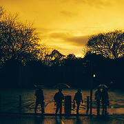 Silhouette of people at a crossing at the corner of Dublin's Stephen's Green at Sunset. A bright yellow sky is providing a backdrop to the rich shadows and a fresh fall of rain reflects the sky off the pavement.