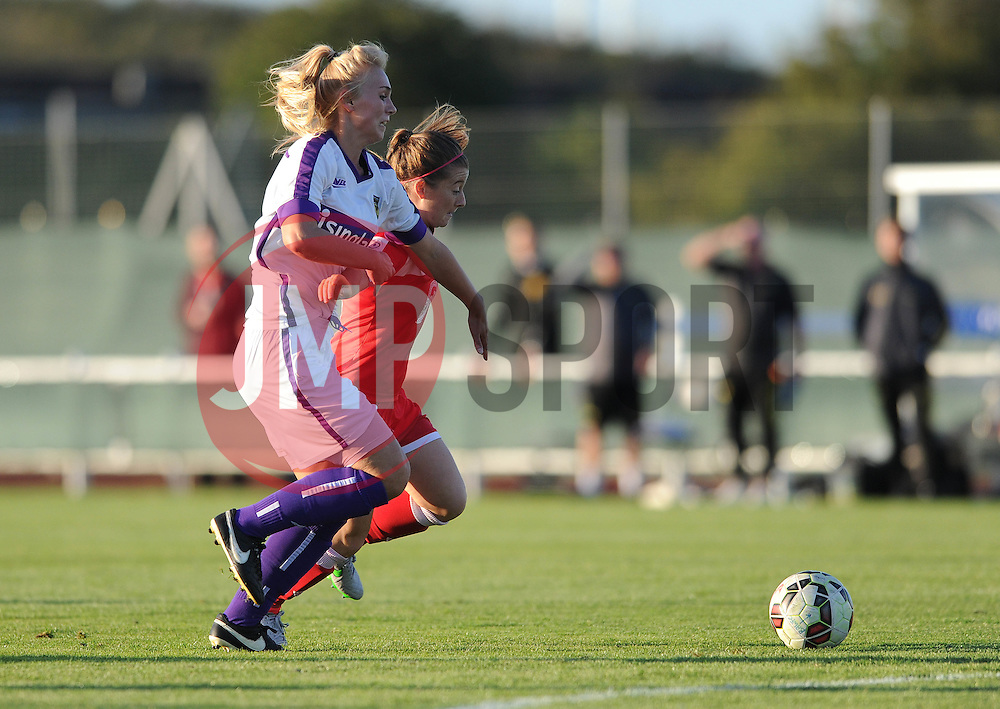 Christie Murray of Bristol Academy jostles for the ball with Oxford United's Rosie Lane - Mandatory byline: Dougie Allward/JMP - 07966386802 - 27/08/2015 - FOOTBALL - Stoke Gifford Stadium -Bristol,England - Bristol Academy Women FC v Oxford United Women - FA WSL Continental Tyres Cup