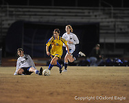 Oxford High's Eden Sandlin (2) vs. Ridgeland in girls soccer North Half championship play-off action on Tuesday, February 2, 2010 in Oxford, Miss.