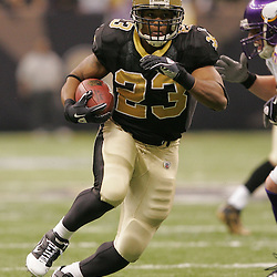 Jan 24, 2010; New Orleans, LA, USA; New Orleans Saints running back Pierre Thomas runs against the Minnesota Vikings during the second quarter of the 2010 NFC Championship game at the Louisiana Superdome. Mandatory Credit: Derick E. Hingle-US PRESSWIRE