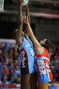 Jhaniele Fowler of the Steel, left, gets the ball ahead of Mo'onia Gerrard in the ANZ netball championship, Southern Steel v NSW Swifts, Stadium Southland Velodrome, Invercargill, New Zealand, Monday, May 06, 2013. Photo:  Dianne Manson / photosport.co.nzin the ANZ netball championship, Southern Steel v NSW Swifts, Stadium Southland Velodrome, Invercargill, New Zealand, Monday, May 06, 2013. Photo:  Dianne Manson / photosport.co.nz