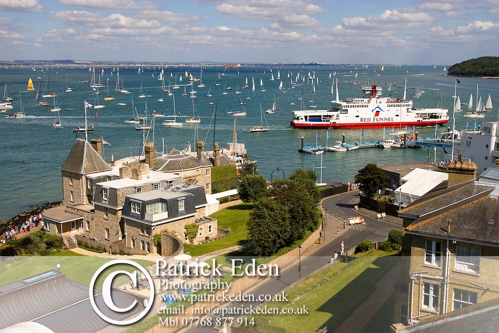 The Royal Yacht Squadron. Cowes Harbour. Red Funnel car ferry Photographs of the Isle of Wight by photographer Patrick Eden photography photograph canvas canvases