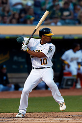 OAKLAND, CA - SEPTEMBER 21:  Marcus Semien #10 of the Oakland Athletics at bat against the Texas Rangers during the first inning at the RingCentral Coliseum on September 21, 2019 in Oakland, California. The Oakland Athletics defeated the Texas Rangers 12-3. (Photo by Jason O. Watson/Getty Images) *** Local Caption *** Marcus Semien