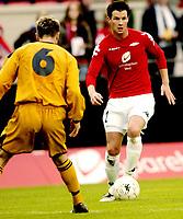 Fotball, UEFA-Cup, 02 August 2007, Brann - Carmarthen Town, Petter Vaagan Moen, Brann, Christopher Thomas, Carmarthen.<br /> <br /> Foto: Kjetil Espetvedt, Digitalsport.