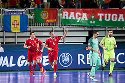 Players of team Russia celebrate goal during futsal semifinal match between National teams of Russia and Portugal at Day 9 of UEFA Futsal EURO 2018, on February 8, 2018 in Arena Stozice, Ljubljana, Slovenia. Photo by Urban Urbanc / Sportida