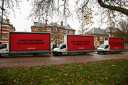© Licensed to London News Pictures. 26/11/2019. London, UK. Anti-Corbyn slogans written on a digital advertising vans are parked up outside the Bernie Grant Arts Centre in Tottenham, North London ahead of the arrival of Labour Party Leader Jeremy Corbyn for a Race & Faith manifesto launch event. Photo credit: Dinendra Haria/LNP