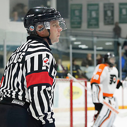 TRENTON, ON - SEP 16:  OHA Referee Coles during the OJHL regular season game between the  Orangeville Flyers and Trenton Golden Hawks on September 16, 2016 in Trenton, Ontario. (Photo by Amy Deroche/OJHL Images)