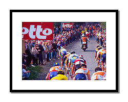 Ghent Wevelgem 1998<br /> <br /> Taken on the Kemmelberg on a Wednesday afternoon. Johan Museeuw, very much the hero of Belgian cycling at the time, is leading the bunch.
