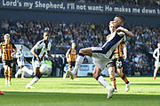 West Bromwich Albion defender Kieran Gibbs (3) scores a goal from open play 1-0 during the EFL Sky Bet Championship match between West Bromwich Albion and Hull City at The Hawthorns, West Bromwich, England on 19 April 2019.