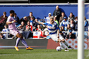 Queens Park Rangers forward Sebastian Polter (33) attacks the Reading goal during the Sky Bet Championship match between Queens Park Rangers and Reading at the Loftus Road Stadium, London, England on 23 April 2016. Photo by Andy Walter.