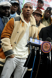"""Ja Rule speaks at a protest at city hall in support of tenants against NYCHA for sub standard conditions in NY public housing. """"The mayor, the governor, they should all be ashamed of [themselves]. These are Americans, New Yorkers living in third-world conditions and it should not be this way,"""" said the rapper, who grew up as Jeffrey Atkins in Hollis, Queens. New York City, NY, USA, February 20, 2018. Photo by Dennis Van Tine/ABACAPRESS.COM"""