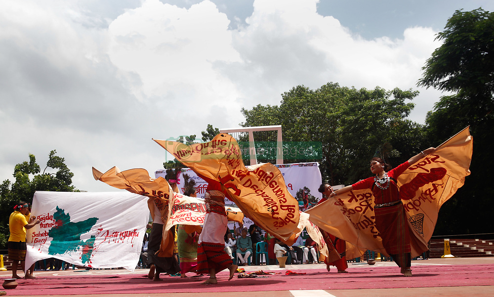 August 9, 2017 - Dhaka, Bangladesh - Bangladeshi indegenious women participate in a gathering in Dhaka, Bangladesh on 9th Aug, 2017, held to celebrate United Nations' (UN) International Day of the World's Indigenous People. The event is observed to promote and protect the rights of the indigenous communities rich and diverse cultures. (Credit Image: © Mehedi Hasan/NurPhoto via ZUMA Press)