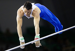 Alen Dimic of Slovenia competes in the Horizontal Bar during Qualifiying day  of Artistic Gymnastics World Challenge Cup Ljubljana, on April 18, 2014 in Hala Tivoli, Ljubljana, Slovenia. Photo by Vid Ponikvar / Sportida