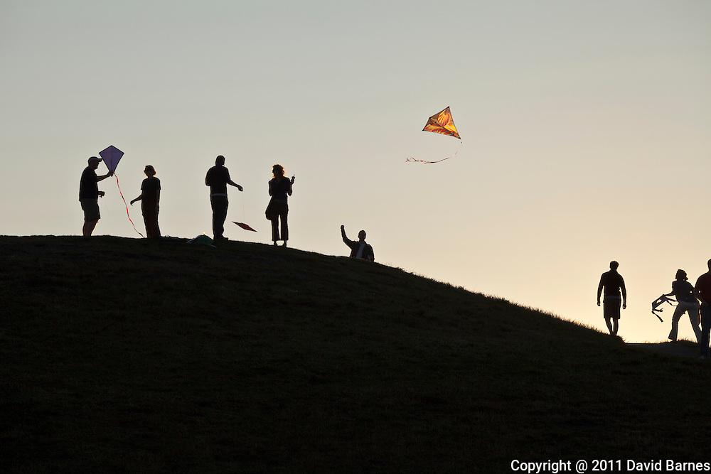 People flying kites, Gasworks Park, Seattle, Washington, USA