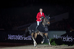 SCHWIZER Pius (SUI), Living the Dream<br /> Stuttgart - German Masters 2018<br /> Siegerehrung<br /> Mercedes German Master CSI5*-W <br /> 16. November 2018<br /> © www.sportfotos-lafrentz.de/Stefan Lafrentz
