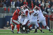 Mississippi defensive end Robert Nkemdiche (5) rushes against Arkansas' Dan Skipper (76) at Vaught-Hemingway Stadium in Oxford, Miss. on Saturday, November 9, 2013. Mississippi won 34-24. (AP Photo/Oxford Eagle, Bruce Newman)