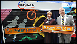 Sir Peter Hendy CBE and his wife Lady Hendy has the 66718 locomotive named Sir Peter Hendy CBE, after him By GB RailFreight at Victoria Station. London, United Kingdom. It's to mark the 150th anniversary of the London Underground the two locomotives are unveiled dedicated to Transport for London Commissioner, Sir Peter Hendy CBE, and Harry Beck, the designer of the original Tube map. The locos will now be used by GB Railfreight for freight services for Crossrail and the renewal of the London Underground infrastructure.Tuesday, 5th November 2013. Picture by Andrew Parsons / i-Images