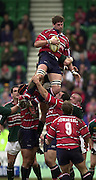 © Peter Spurrier/ Intersport Images.Photo Peter Spurrier.01/03/2003 Sport - Semi final Powergen Cup Rugby -.Leicester  v Gloucester - Franklin Gardens..Rob Fidler collects the line out ball..