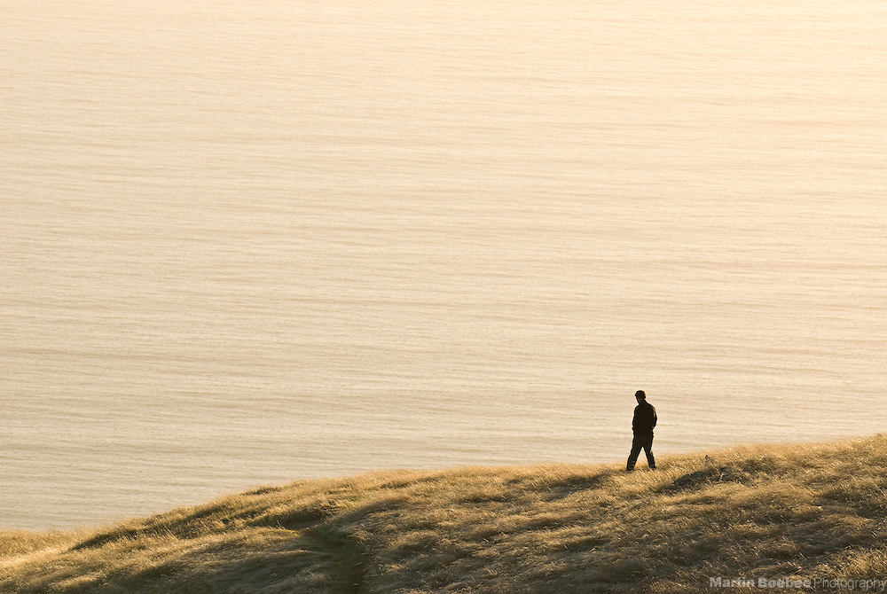 A man walks along a coastal bluff in Mount Tamalpais State Park, California