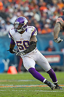 25 November 2012: Linebacker (50) Erin Henderson of the Minnesota Vikings in game action against the Chicago Bears during the second half of the Bears 28-10 victory over the Vikings in an NFL football game at Soldier Field in Chicago, IL.