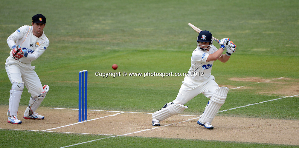 Auckland's Craig Cachopa hits a 6 during his century innings. Plunket Shield Cricket, Auckland Aces v Wellington Firebirds at Eden Park Outer Oval. Auckland on Wednesday 28 November 2012. Photo: Andrew Cornaga/Photosport.co.nz