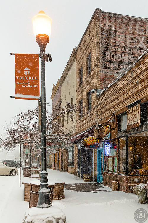 """""""Downtown Truckee 42"""" - Photograph of historic Downtown Truckee, California shot during a snow storm."""