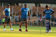 Veda Krishnamurthy of India Indian coach Tushar Arothe and Mithali Raj captain of India inspects the pitch before the start of the second women's one day International ( ODI ) match between India and Australia held at the Reliance Cricket Stadium in Vadodara, India on the 15th March 2018<br /> <br /> Photo by Vipin Pawar / BCCI / SPORTZPICS