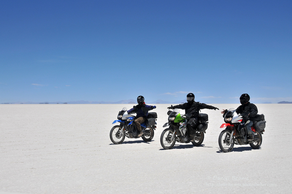 Motorcycling on the Salar de Uyuni, Bolivia