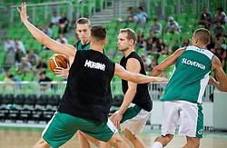 Miha Lapornik, Gezim Morina and Jaka Blazic during public training session of Slovenian National Basketball team, on August 1, 2016 in Arena Stozice, Ljubljana, Slovenia. Photo by Vid Ponikvar / Sportida