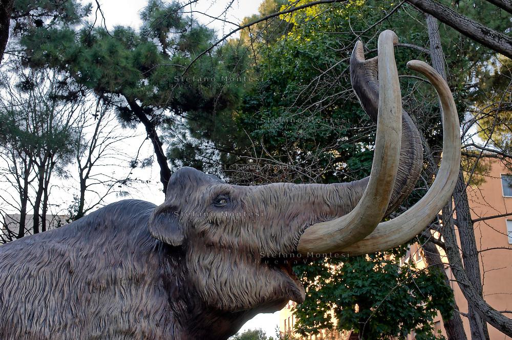Roma 30 Dicembre 2014<br /> &quot;Dinosauri in Carne e Ossa&quot;, mostra di dinosauri e altri animali preistorici estinti, a grandezza naturale, allestita dall' Associazione paleontologica ambientale, all'Universit&agrave; La Sapienza di Roma. La mostra sara aperta fino al 31 Maggio 2015. La scultura di un Mammuthus primigenius.<br /> Rome December 30, 2014<br /> &quot;Dinosaurs in Flesh and Bones&quot;, an exhibition of dinosaurs and other prehistoric animals extinct, to life-sized, prepared by Association paleontological environmental, a La Sapienza University of Rome. The exhibition will be open until May 31, 2015. The sculpture of Mammuthus primigenius.