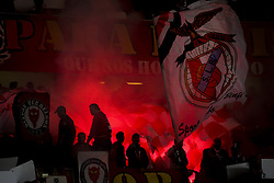January 3, 2018 - Lisbon, Portugal - Benfica supporters during the Portuguese League  football match between SL Benfica and Sporting CP at Luz  Stadium in Lisbon on January 3, 2018. (Credit Image: © Carlos Costa/NurPhoto via ZUMA Press)