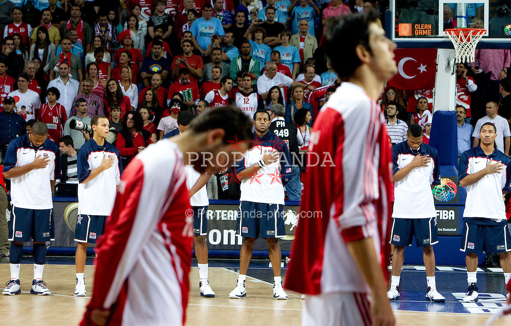 12.09.2010, Sinan Erdem Dome, Istanbul, TUR, 2010 FIBA World Championship, Final, Turkey vs USA, im Bild Players of USA and Turkey listening to the US national anthem during the finals basketball match, EXPA Pictures © 2010, PhotoCredit: EXPA/ Sportida/ Vid Ponikvar *** ATTENTION *** SLOVENIA OUT!