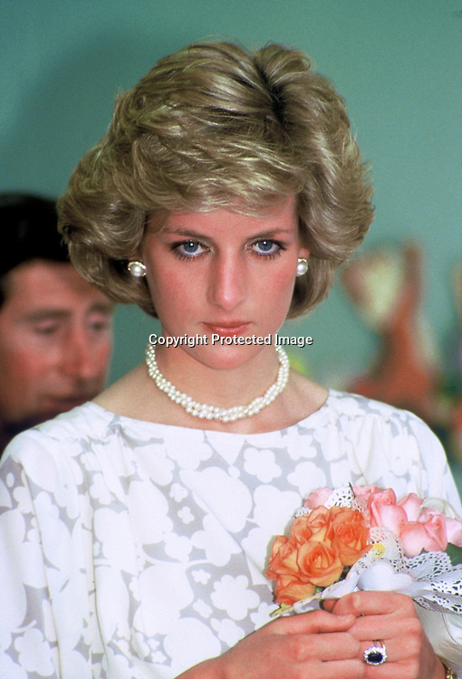 ROME, ITALY - APRIL 27:  Diana, Princess of Wales holds a bouquet of roses during a visit to Italy on April 27, 1985 in Rome, Italy  (Photo by Anwar Hussein/Getty Images) *** Local Caption *** Princess Diana, Princess of Wales