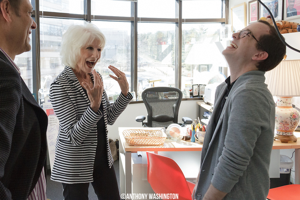 Nick Hardigan visits Diane Rehm to show her his tattoo of her at WAMU 88.5 in Washington, DC on Thursday, February 23, 2017.